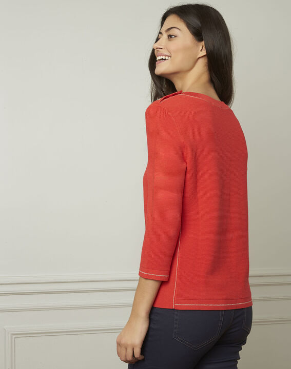 Avocado red pullover with buttons and lurex details (3) - Maison 123