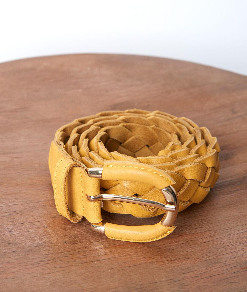 Swan yellow leather braid belt PhotoZ | 1-2-3