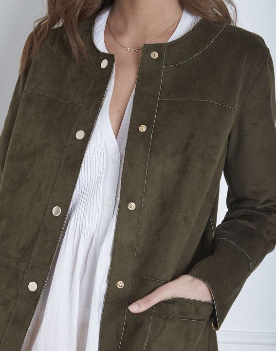 Fabiana khaki leather effect coat (3) - Maison 123