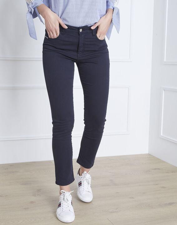 Vendome navy slim-fit 7/8-length sateen jeans (1) - Maison 123