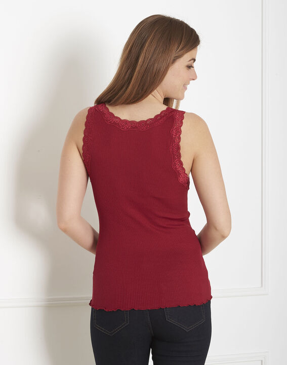 Guest red silk and cotton tank top with lace neckline (3) - Maison 123