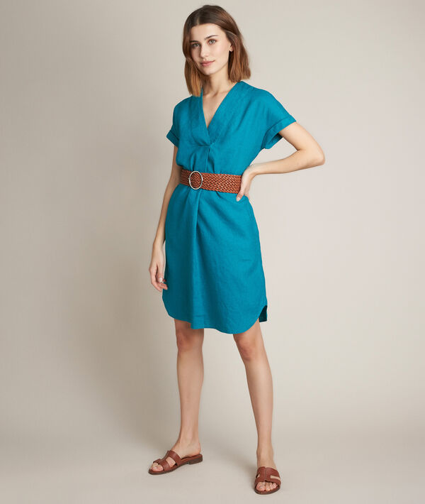 Christina green linen dress PhotoZ | 1-2-3