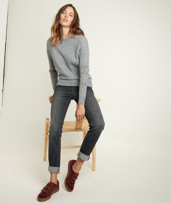 Rysis grey pullover with stud detailing PhotoZ | 1-2-3