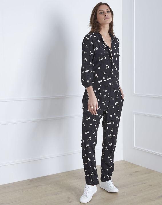 Lisa cherry print black jumpsuit (1) - Maison 123