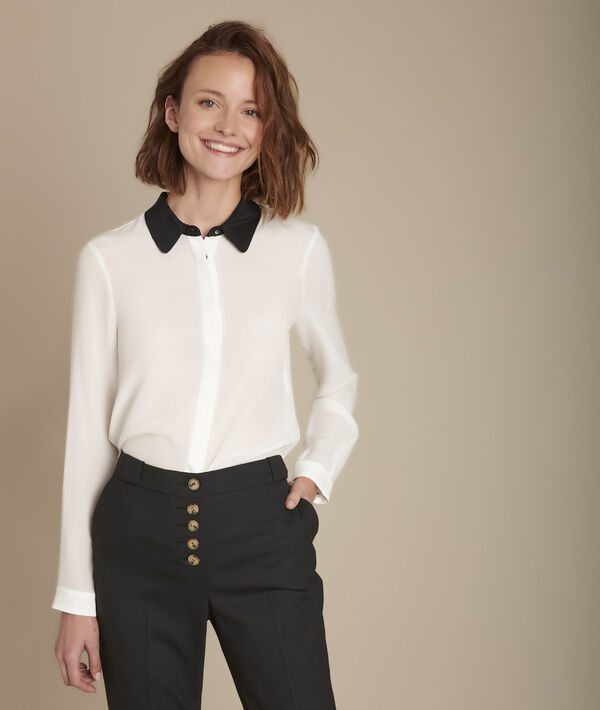 Maelle silk shirt with contrasting collar PhotoZ   1-2-3