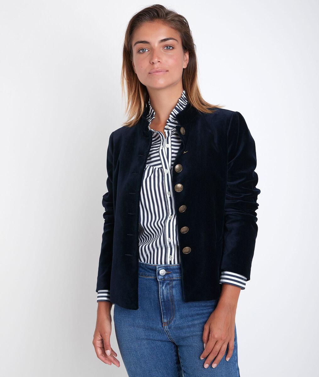 Tang navy velvet officer-style jacket PhotoZ | 1-2-3
