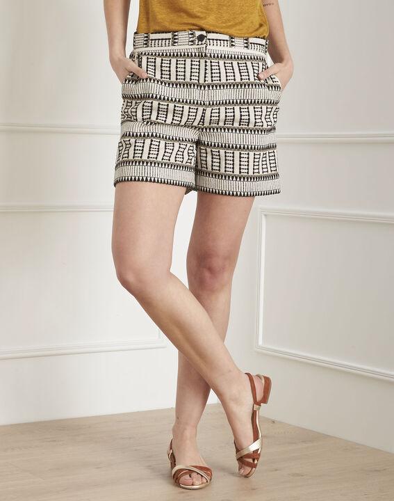 Gordon ecru ethnic print jacquard shorts PhotoZ | 1-2-3