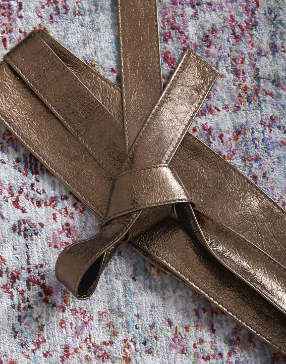 Raul wide tie belt in bronze leather (2) - Maison 123