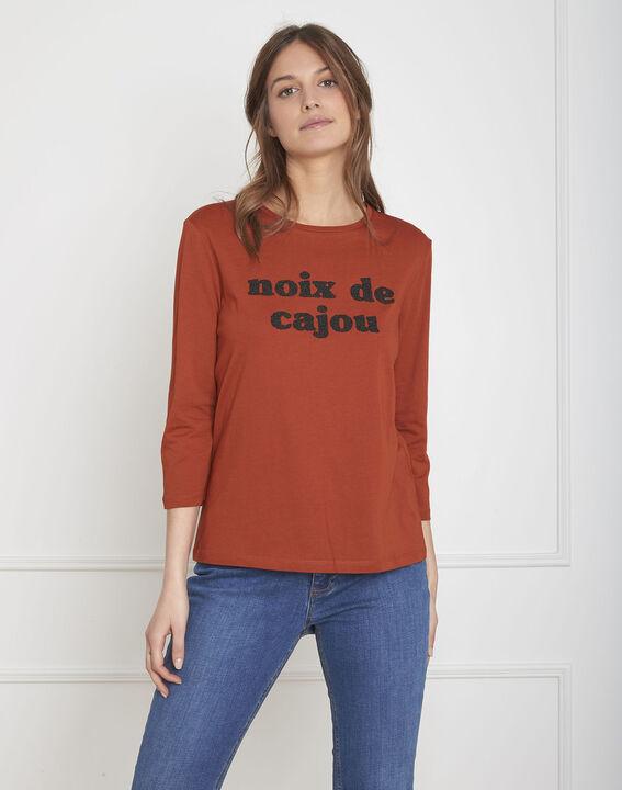 Pecan mahogany T-shirt with bead embroidery PhotoZ | 1-2-3