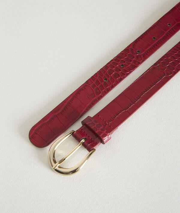 Karine fuchsia mock croc leather belt PhotoZ | 1-2-3