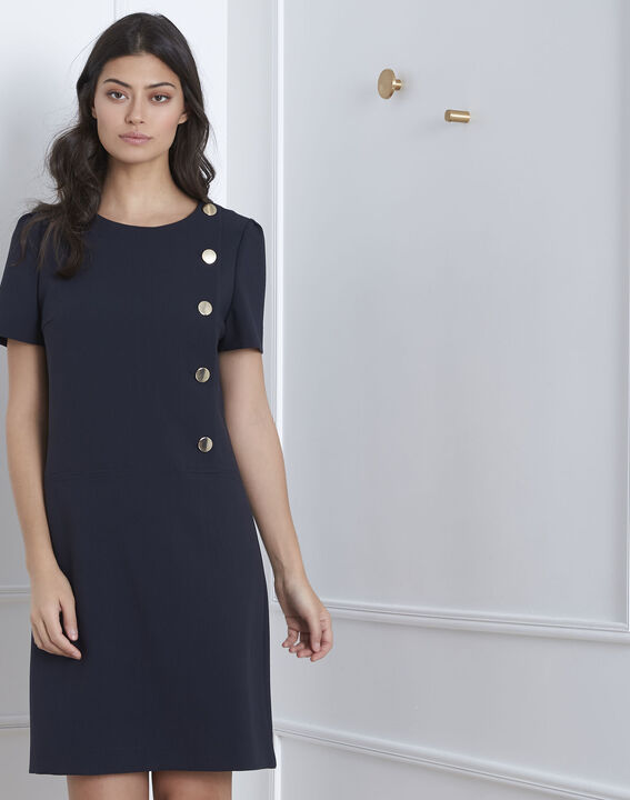Defi navy dress with big buttons PhotoZ   1-2-3