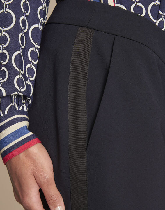 Suzanne navy tailored trousers with horizontal panel (3) - Maison 123