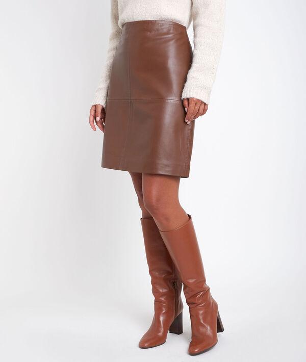 Bossa tan leather skirt PhotoZ | 1-2-3