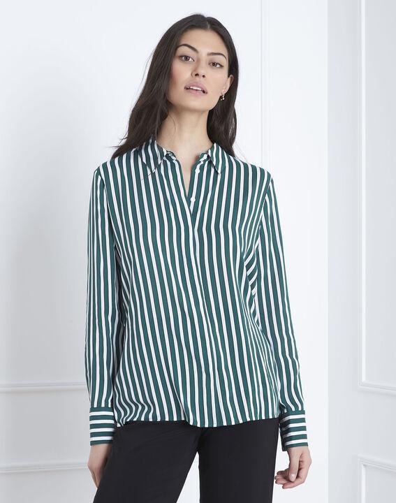 Vanessa green striped blouse PhotoZ | 1-2-3