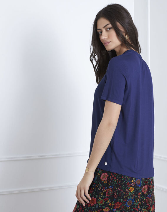 Viola navy blouse with laced neckline (4) - Maison 123