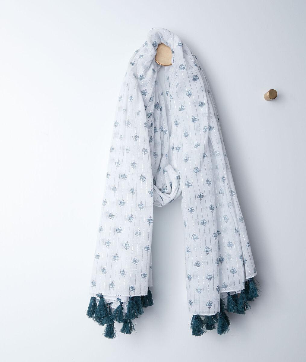 Basil printed fringed scarf PhotoZ | 1-2-3