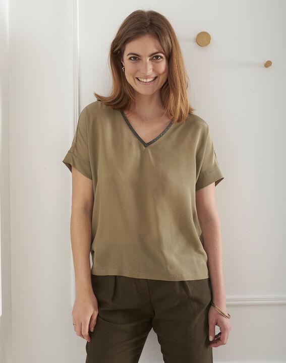 Vilma khaki silk top with lurex neckline PhotoZ | 1-2-3