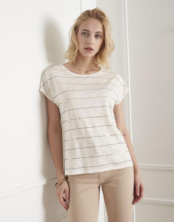 Palmyre ecru striped sequinned T-shirt PhotoZ | 1-2-3