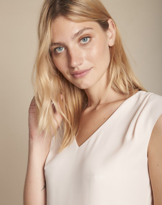 Pale rose bimaterial blouse with  Neptune V-neck (1) - Maison 123