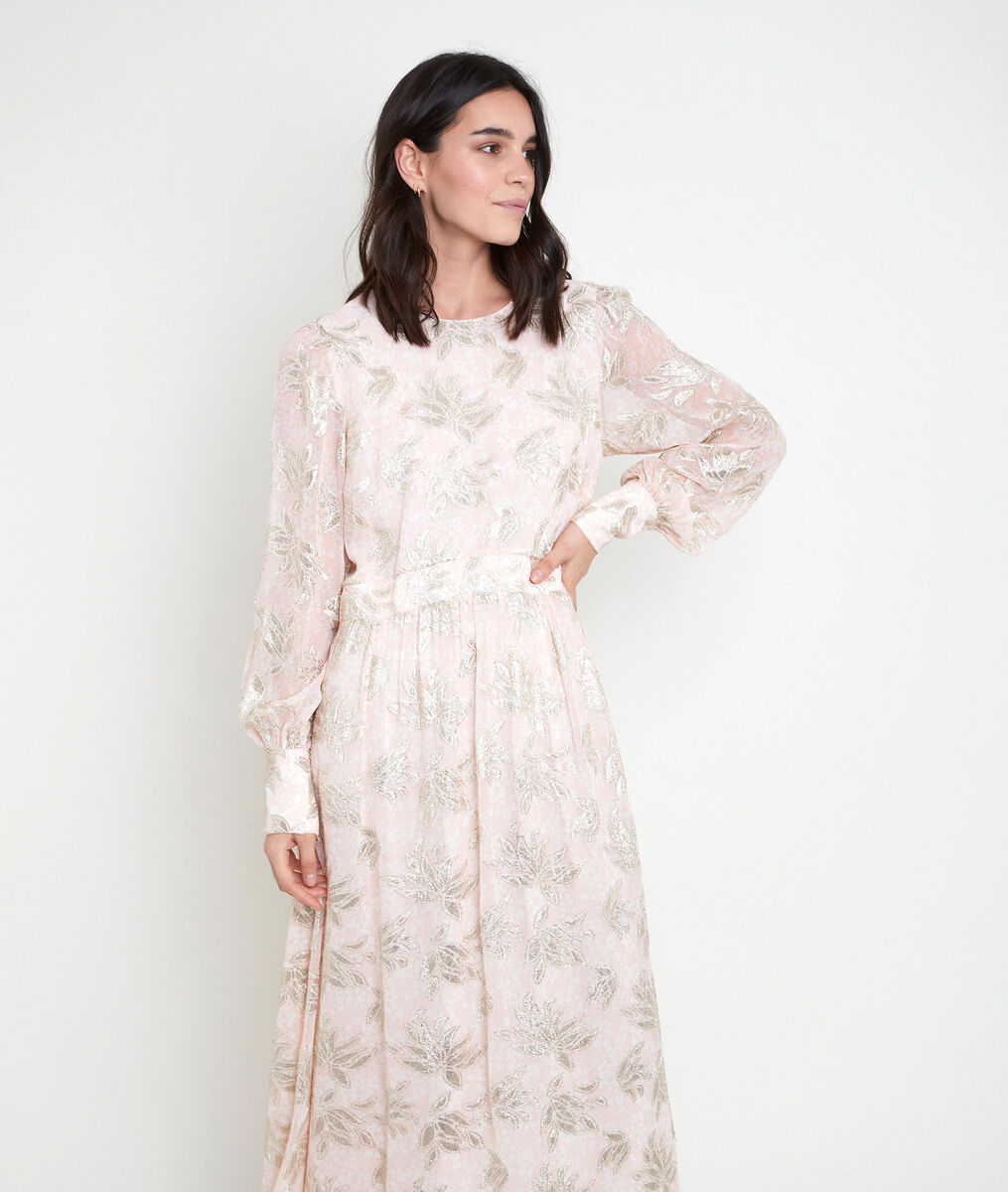 MARIA powder-coloured jacquard maxi dress PhotoZ | 1-2-3