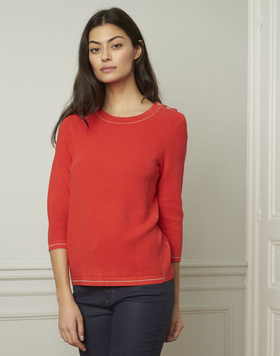 Avocado red pullover with buttons and lurex details (1) - Maison 123