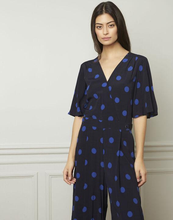 Lamberta navy polka dot print flared jumpsuit PhotoZ | 1-2-3