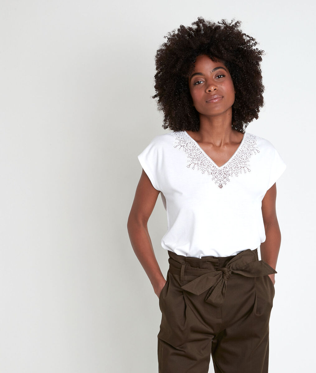 IDIANE ecru top with lace neck PhotoZ | 1-2-3
