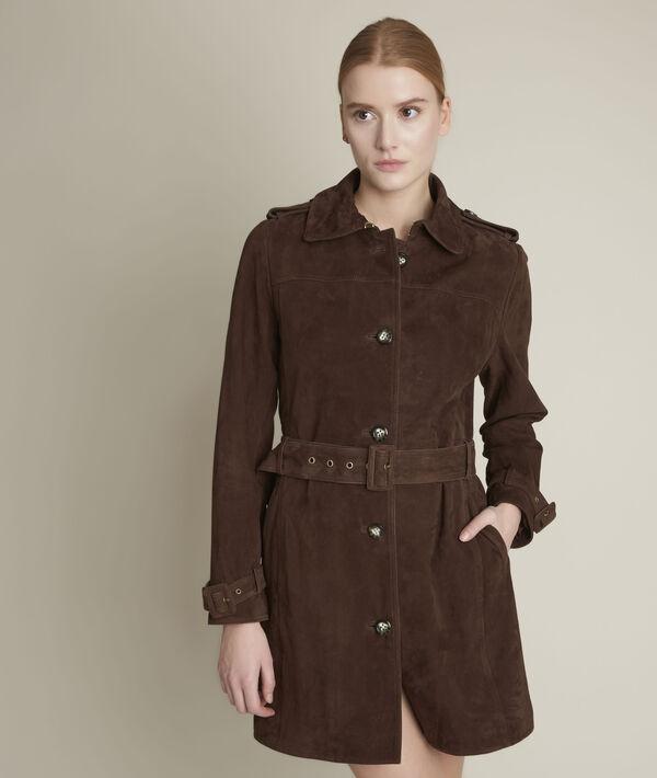 Qleo ebony suede leather trench coat PhotoZ | 1-2-3