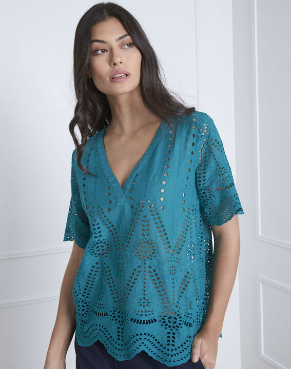 Voltaire green eyelet embroidered blouse PhotoZ | 1-2-3