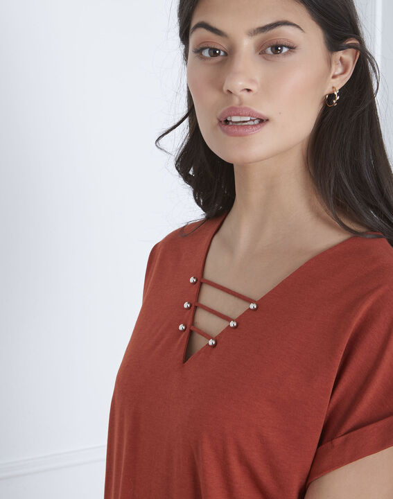 Papeete brown T-shirt with lacing (3) - Maison 123