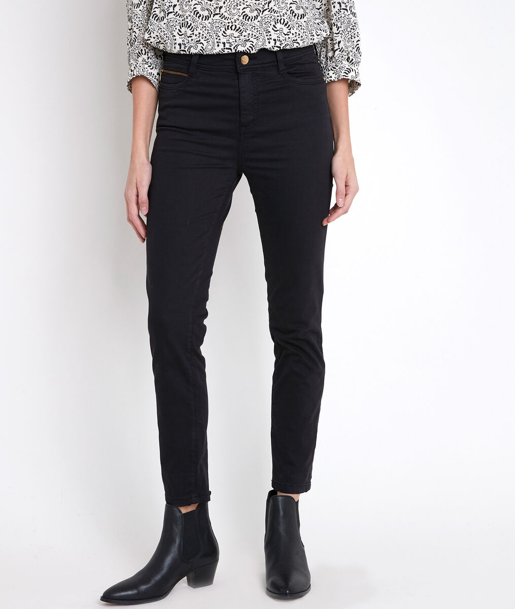 The iconic Sultan trousers: black slim-fit cotton satin jeans PhotoZ | 1-2-3
