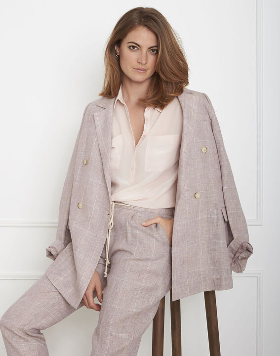 Veziane powder pink silk blouse (2) - Maison 123