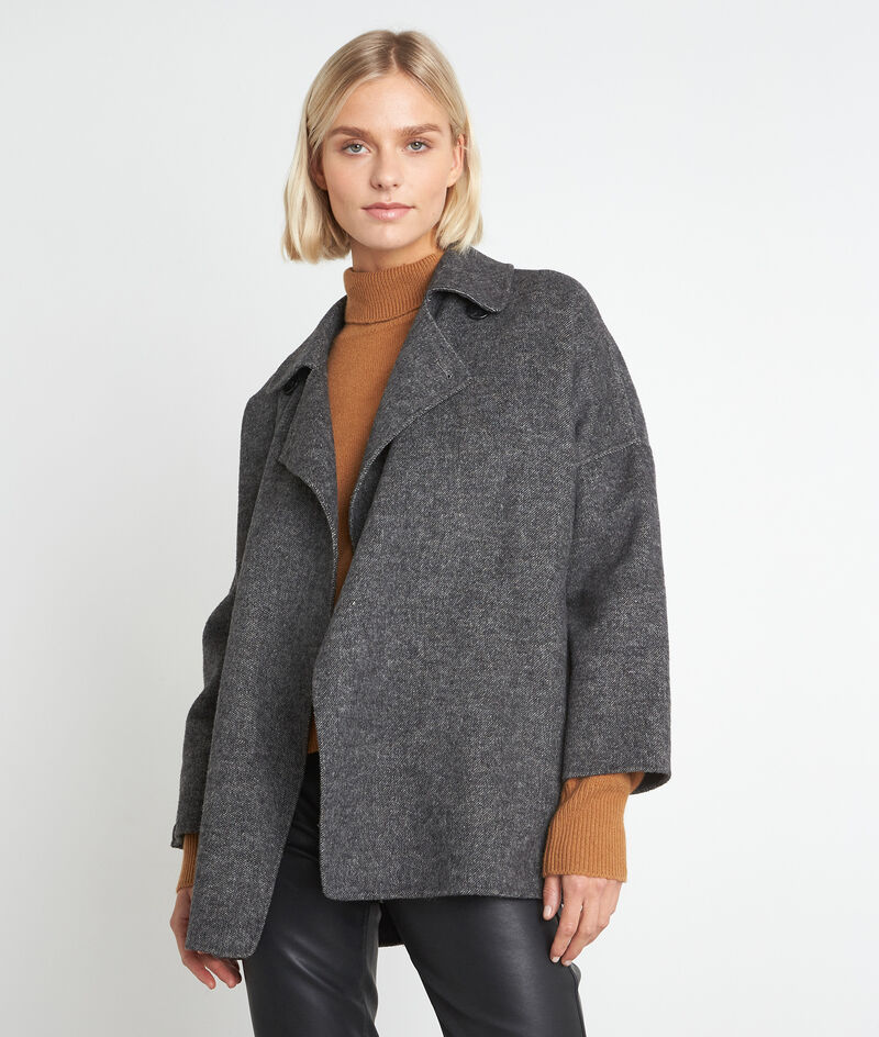 Lucile short grey marl wool coat PhotoZ | 1-2-3