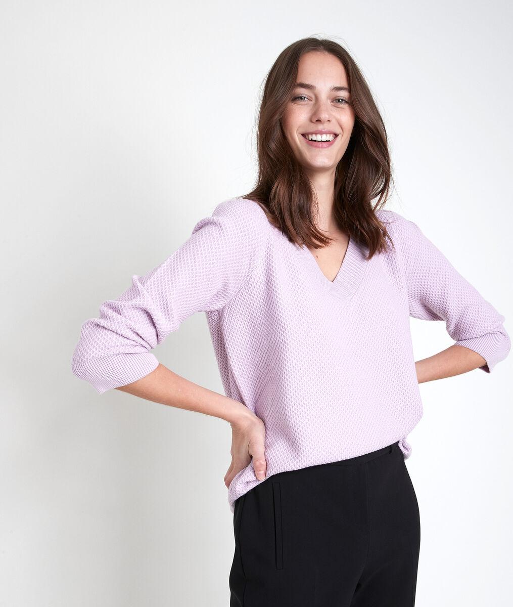 Amore violet decorative knit jumper PhotoZ | 1-2-3