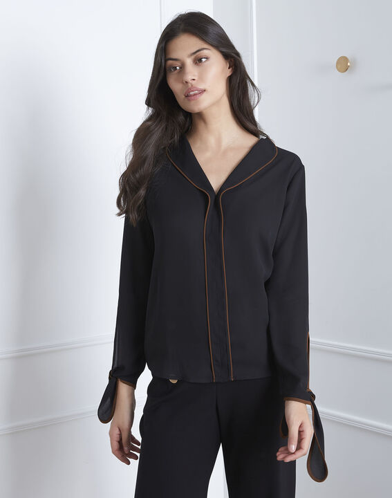 Victoire black blouse with contrasting bias PhotoZ | 1-2-3