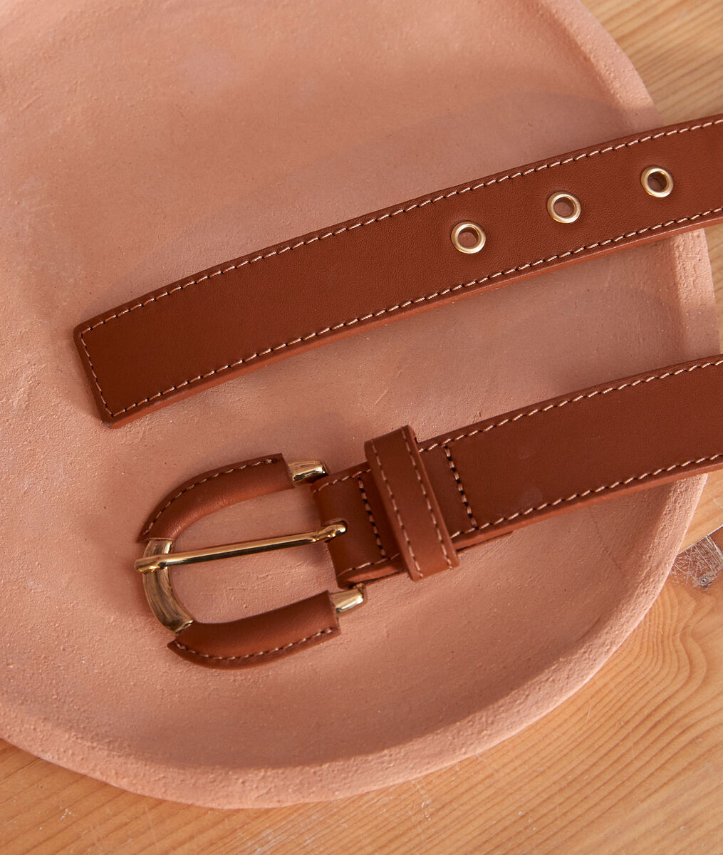 Eleonore cigar brown leather belt PhotoZ | 1-2-3