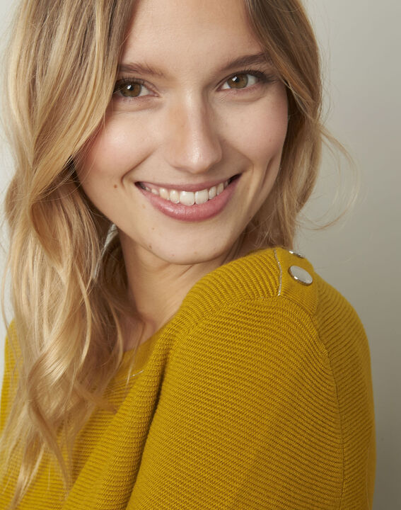 Avocado yellow pullover with buttons and lurex details (4) - Maison 123