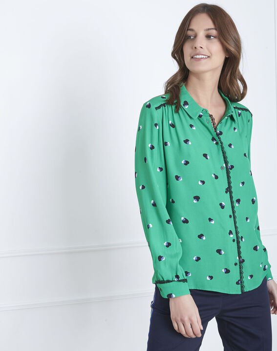 Verdi green printed blouse PhotoZ | 1-2-3