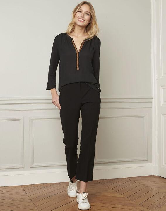 Vassilia henley collar black lurex blouse (2) - Maison 123