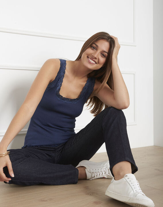 Guest blue silk and cotton tank top with lace neckline PhotoZ   1-2-3