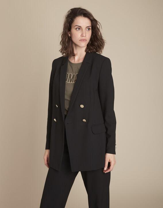 Florine microfibre long black double-breasted jacket PhotoZ   1-2-3
