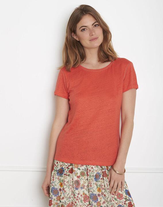 Pin orange T-shirt with ladder stitch detail PhotoZ | 1-2-3