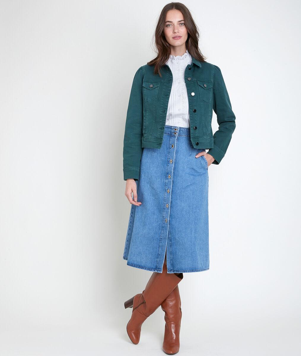 Prisca green cotton jacket PhotoZ | 1-2-3