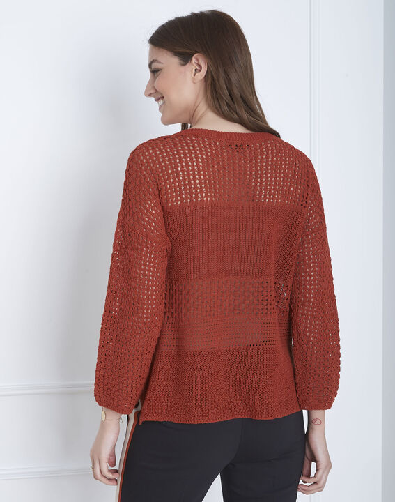 Alesia mahogany patterned cotton/linen knitted jumper (4) - Maison 123