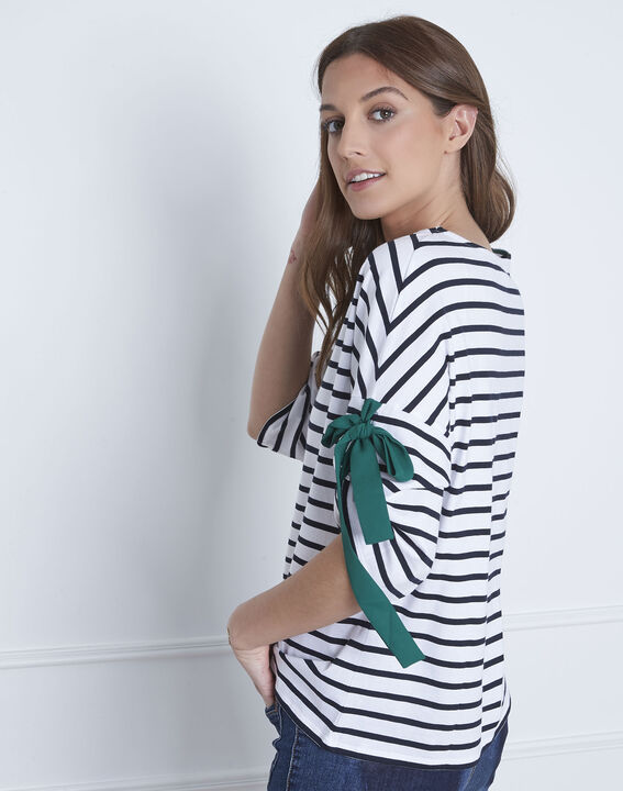 Portland white striped T-shirt with ties (4) - Maison 123