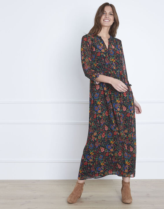 Libra floral print long black dress  PhotoZ | 1-2-3