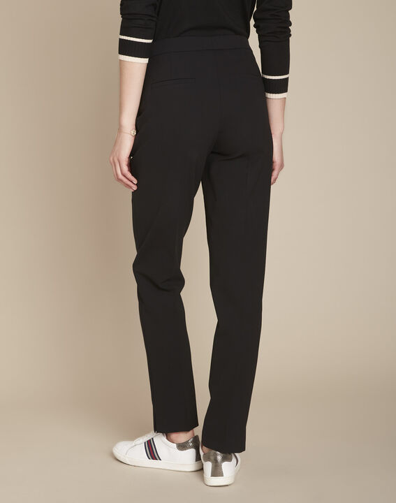 Lara black microfibre cigarette trousers (4) - Maison 123