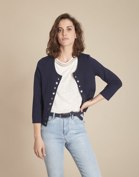 Abricotier navy cropped cardigan with eyelet details PhotoZ | 1-2-3