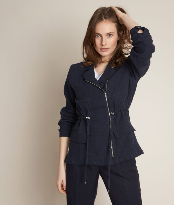 Lucie navy linen safari jacket PhotoZ   1-2-3