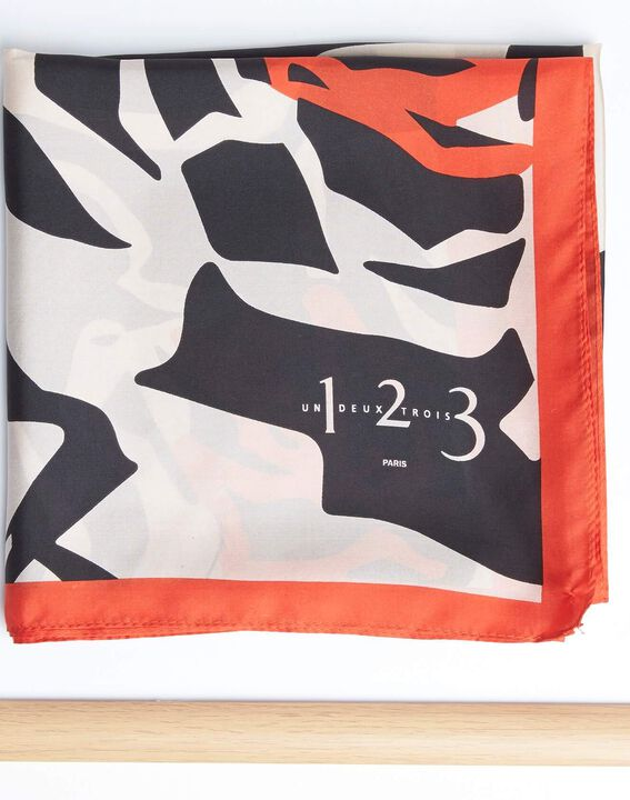 Angel orange graphic floral printed square scarf in silk PhotoZ | 1-2-3